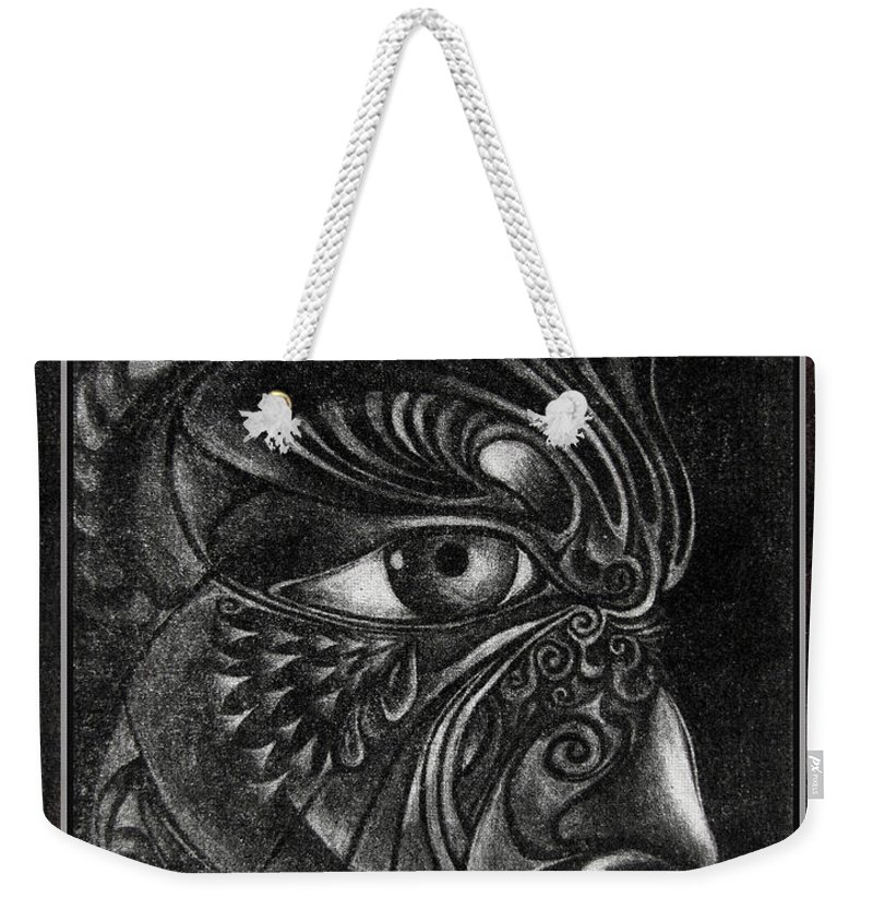 Mezzotint Weekender Tote Bag featuring the drawing Guardian Cherub by Otto Rapp