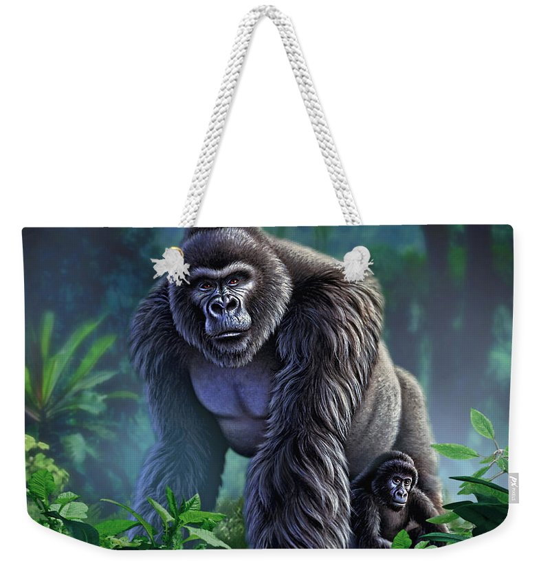 Gorilla Weekender Tote Bag featuring the painting Guardian by Jerry LoFaro