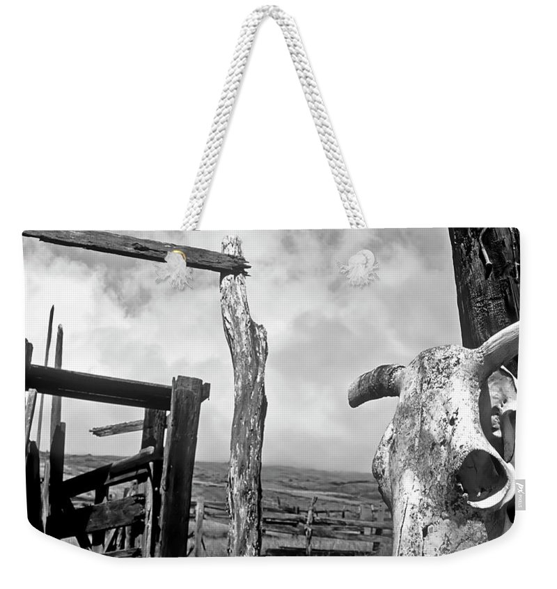 Black And White Weekender Tote Bag featuring the photograph Guardian Spirit by Jim Cazel