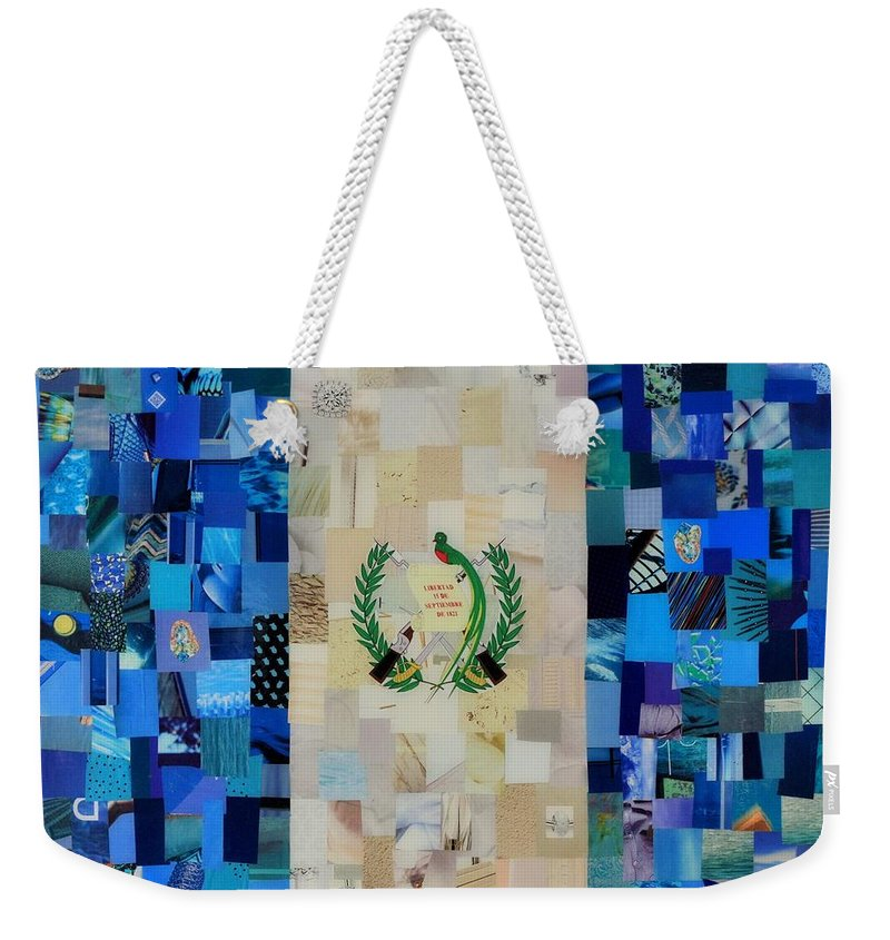 Guatemala Flag Weekender Tote Bag featuring the mixed media Guatemala Flag by Claudia Di Paolo