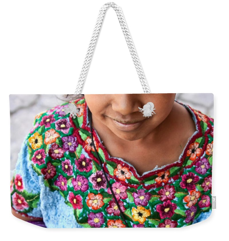 Atitlan Weekender Tote Bag featuring the photograph Guatemalan Girl by Tatiana Travelways