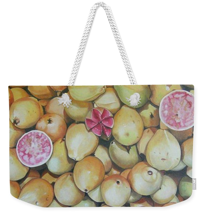 Mexican Produce Weekender Tote Bag featuring the painting Guavas - Chapala by Michael Earney