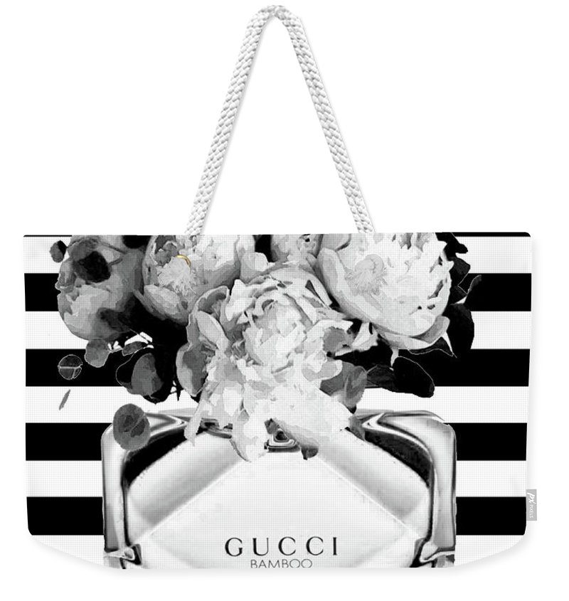 94fffa06c Gucci Weekender Tote Bag featuring the mixed media Gucci Perfume Black And  Whitze by Del Art