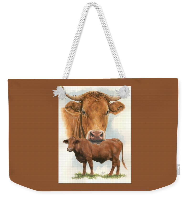 Cow Weekender Tote Bag featuring the mixed media Guernsey by Barbara Keith