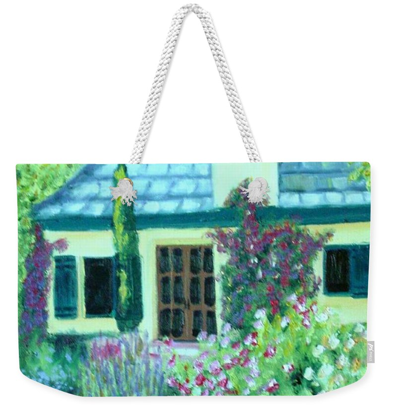 Cottage Weekender Tote Bag featuring the painting Guest Cottage by Laurie Morgan