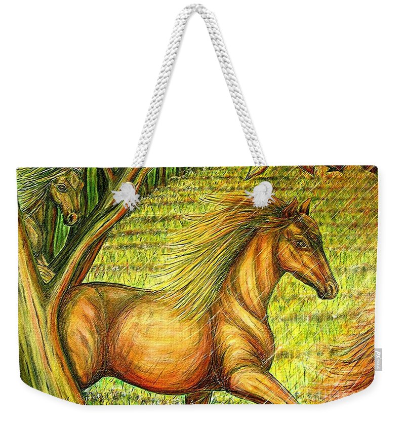 Animals Weekender Tote Bag featuring the painting Guidance-out Of The Woods by Kim Jones