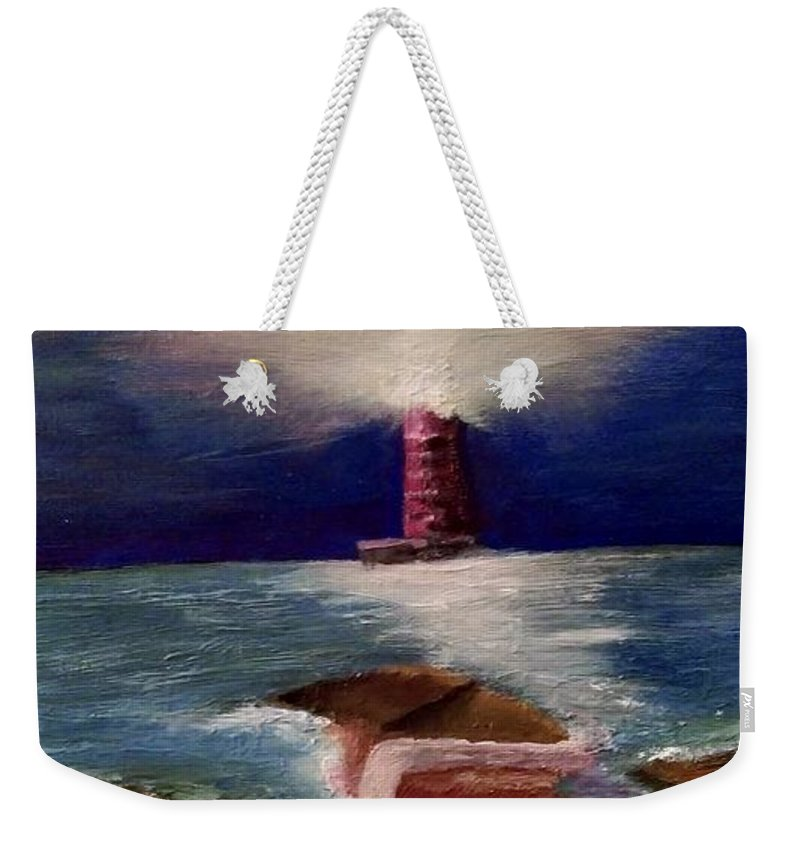 Lighthouse Weekender Tote Bag featuring the painting Guiding Night Light by Denise Fletcher