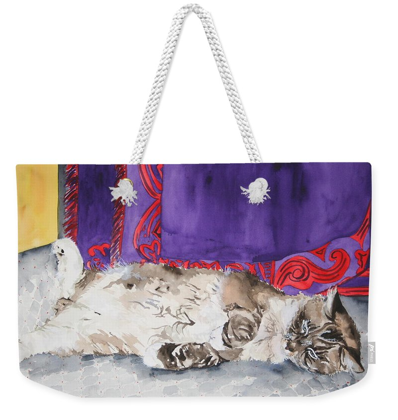 Cat Weekender Tote Bag featuring the painting Guilley by Jean Blackmer