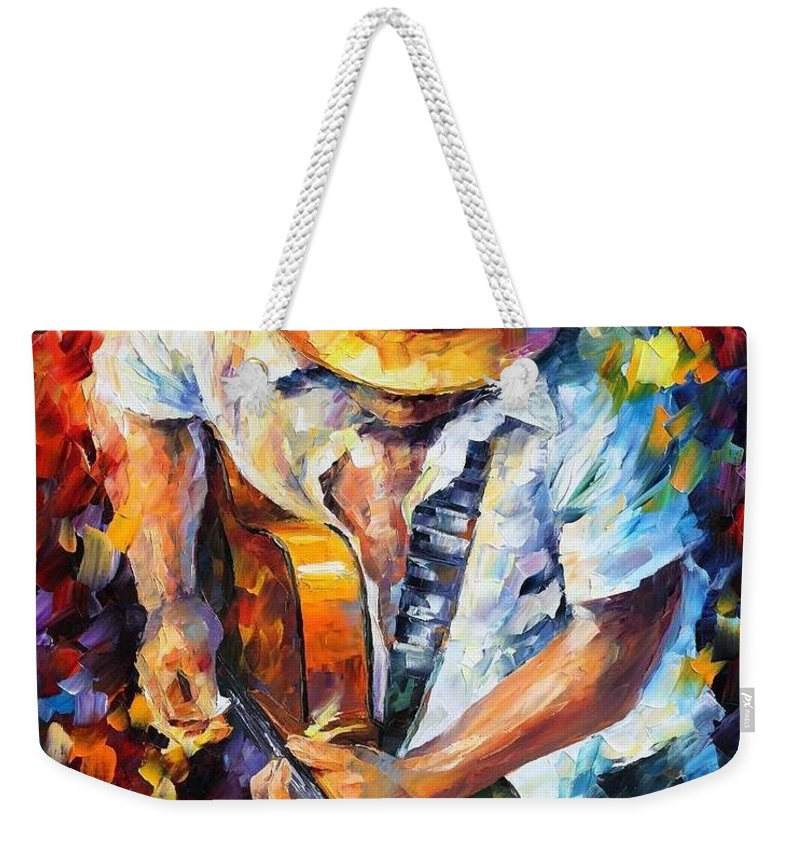 Afremov Weekender Tote Bag featuring the painting Guitar And Soul by Leonid Afremov