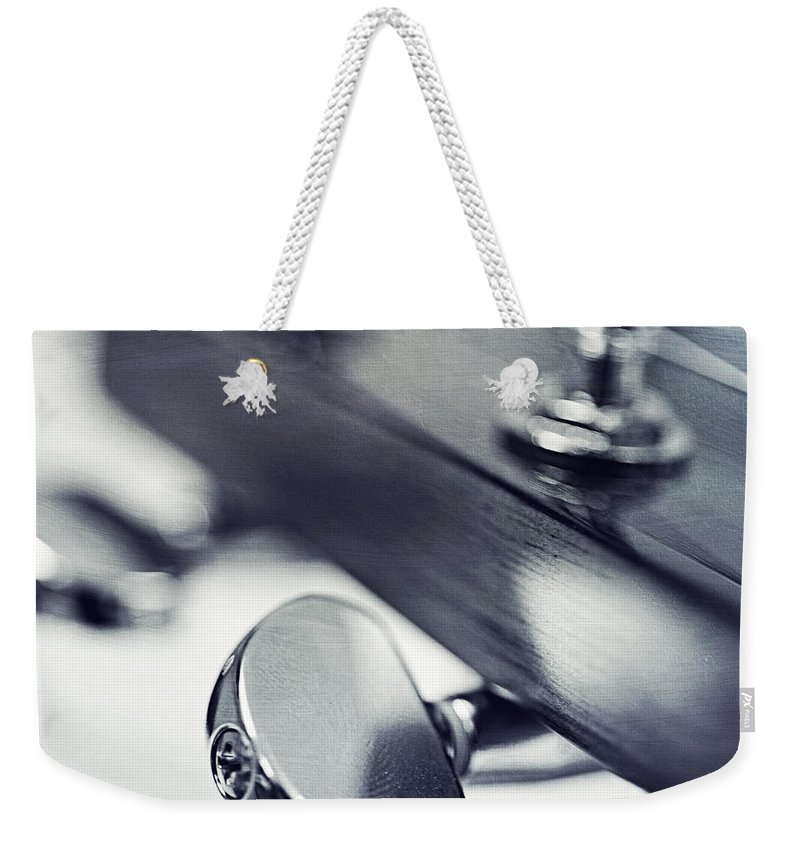 Black Weekender Tote Bag featuring the photograph guitar I by Priska Wettstein