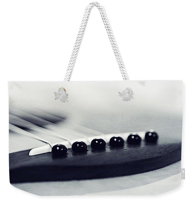 Black Weekender Tote Bag featuring the photograph guitar II by Priska Wettstein