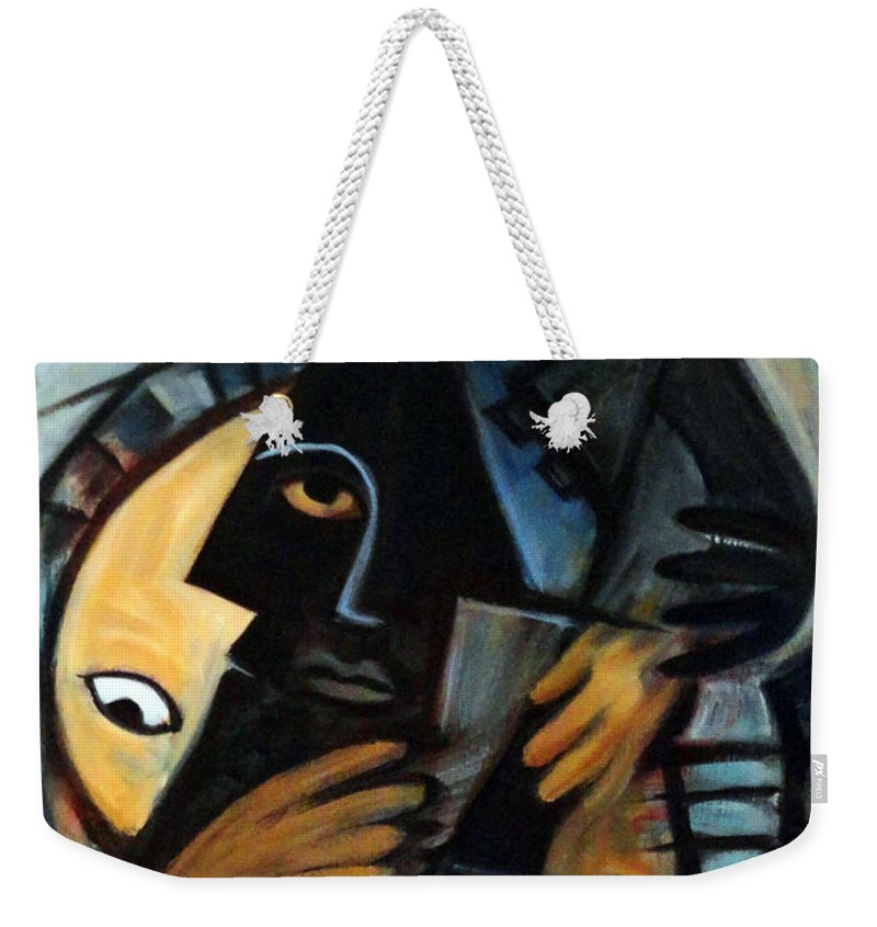 Cubism Weekender Tote Bag featuring the painting Guitarist by Valerie Vescovi