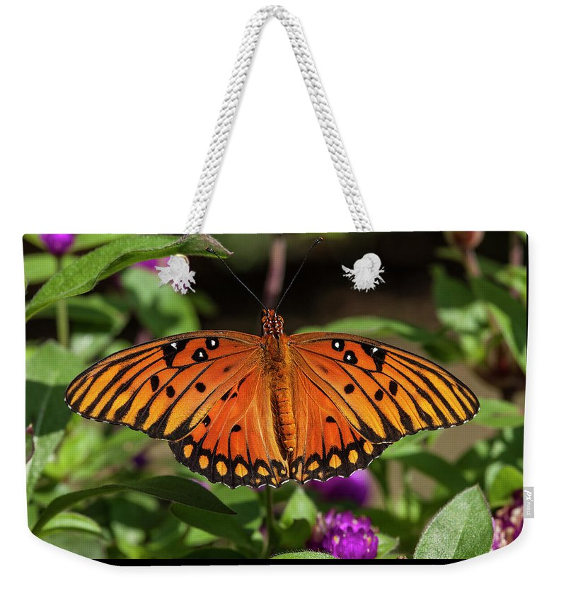 Gulf Fritillary Weekender Tote Bag featuring the photograph Gulf Fritillary by Korrine Holt