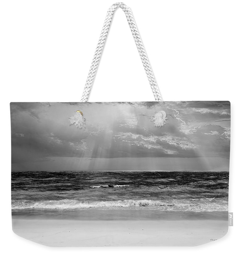 Ocean Weekender Tote Bag featuring the photograph Gulf Of Mexico In Black And White by Theresa Campbell