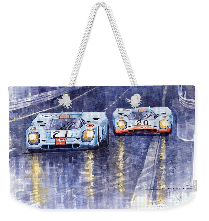 Shevchukart Weekender Tote Bag featuring the painting Gulf-Porsche 917 K Spa Francorchamps 1970 by Yuriy Shevchuk