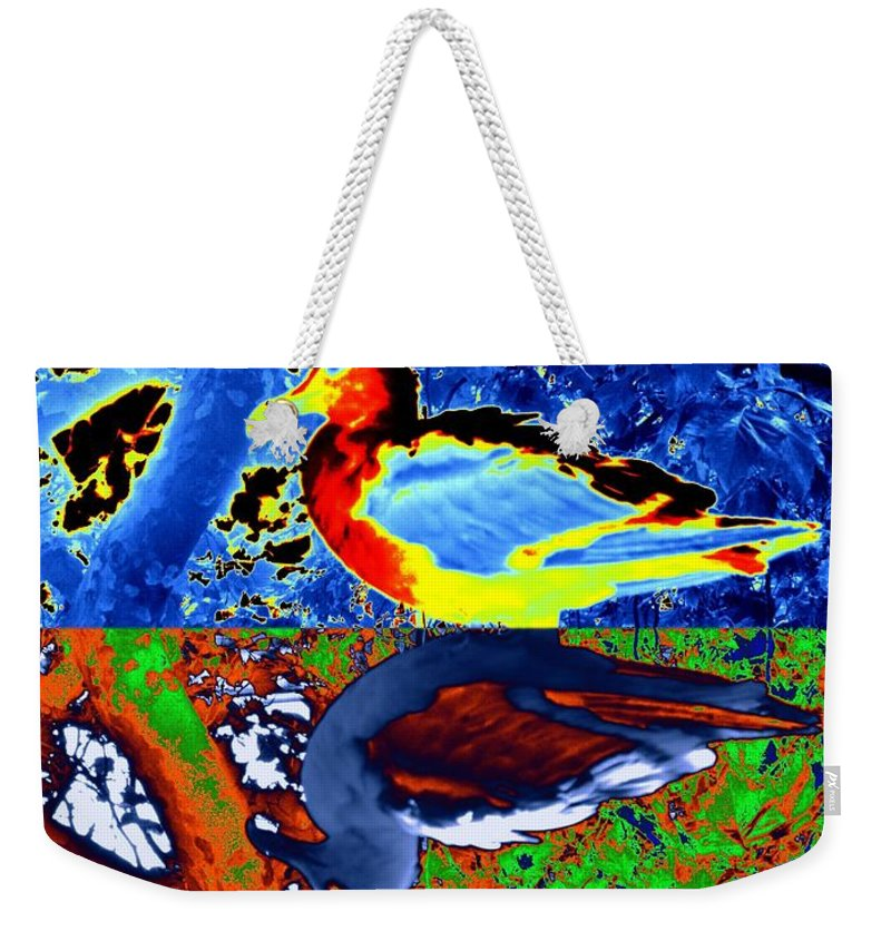 Seagull Weekender Tote Bag featuring the digital art Gulls by Tim Allen