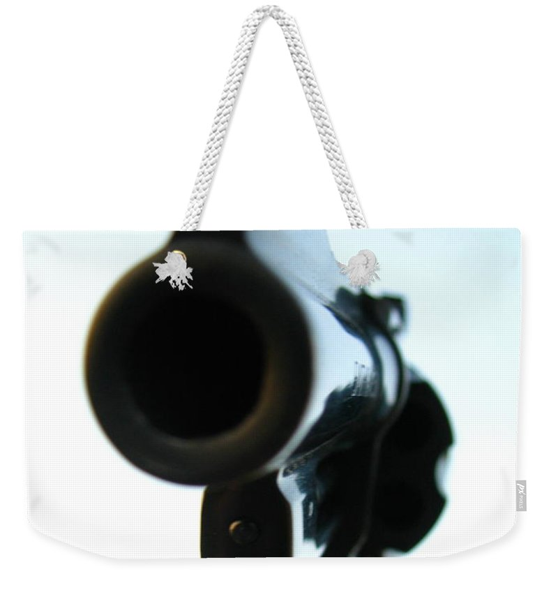 Guns Weekender Tote Bag featuring the photograph Gun by Amanda Barcon