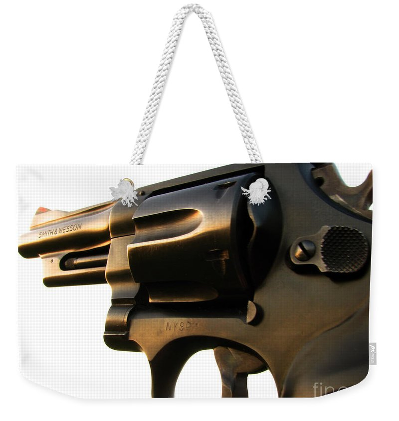 Gun Weekender Tote Bag featuring the photograph Gun Series by Amanda Barcon