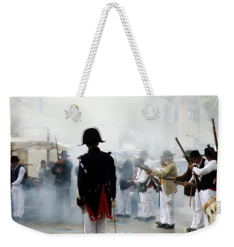 Traditional Weekender Tote Bag featuring the photograph Gun Smoke by Lainie Wrightson