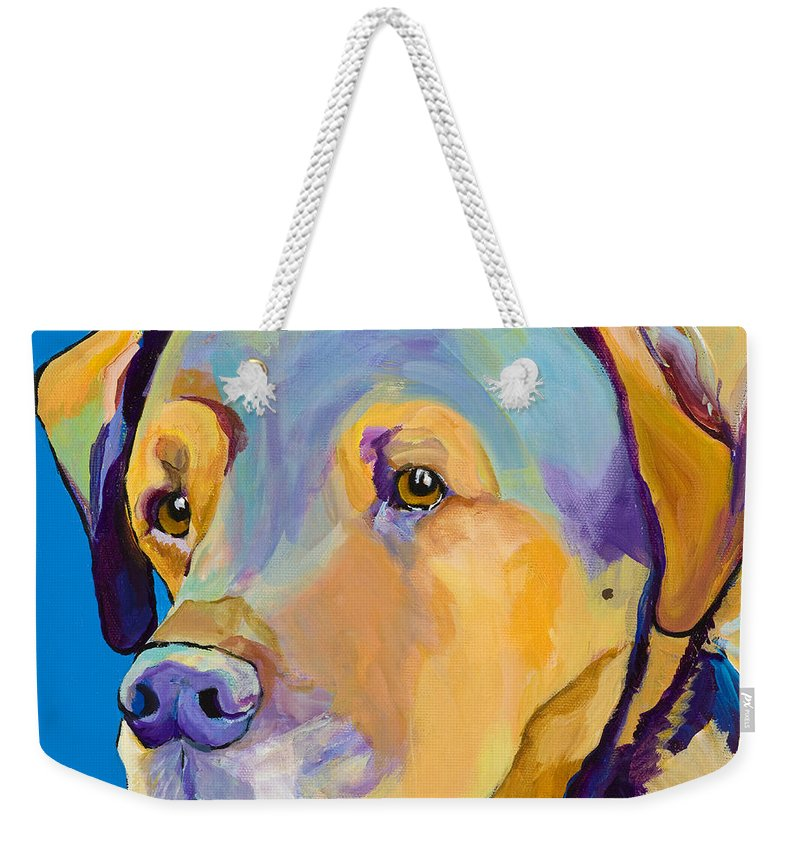 Dog Portrait Weekender Tote Bag featuring the painting Gunner by Pat Saunders-White