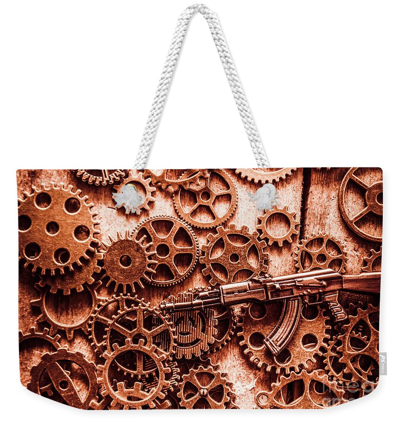 Guns Weekender Tote Bag featuring the photograph Guns Of Machine Mechanics by Jorgo Photography - Wall Art Gallery