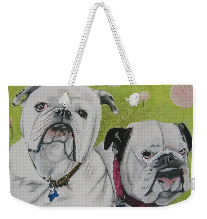 Dog Painting Weekender Tote Bag featuring the pastel Gus And Olive by Michelle Hayden-Marsan
