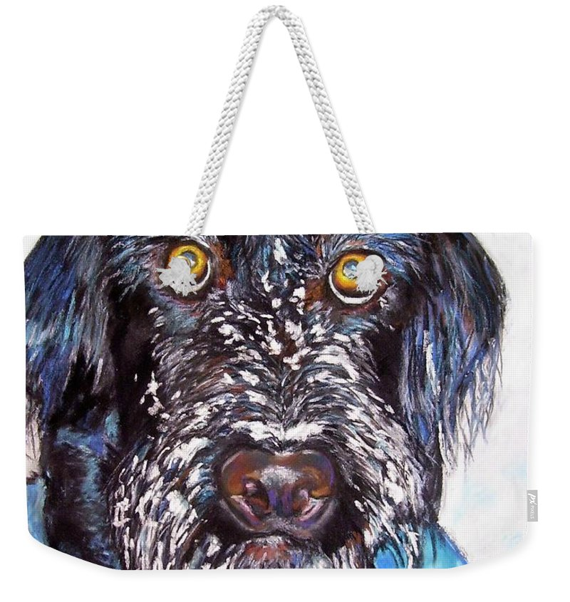 Dog Weekender Tote Bag featuring the painting Gus by Frances Marino
