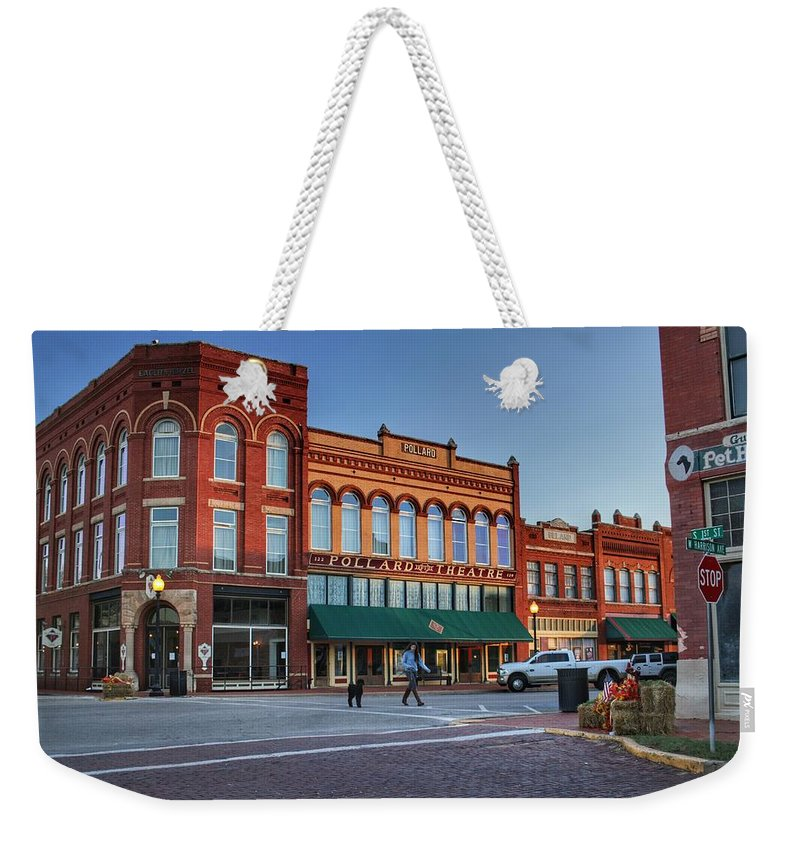Guthrie Weekender Tote Bag featuring the photograph Guthrie Oklahoma Street Scene by Buck Buchanan