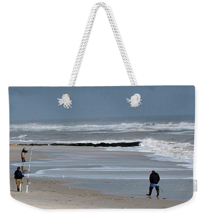 Men Weekender Tote Bag featuring the photograph Guys Fishing by Lori Tambakis