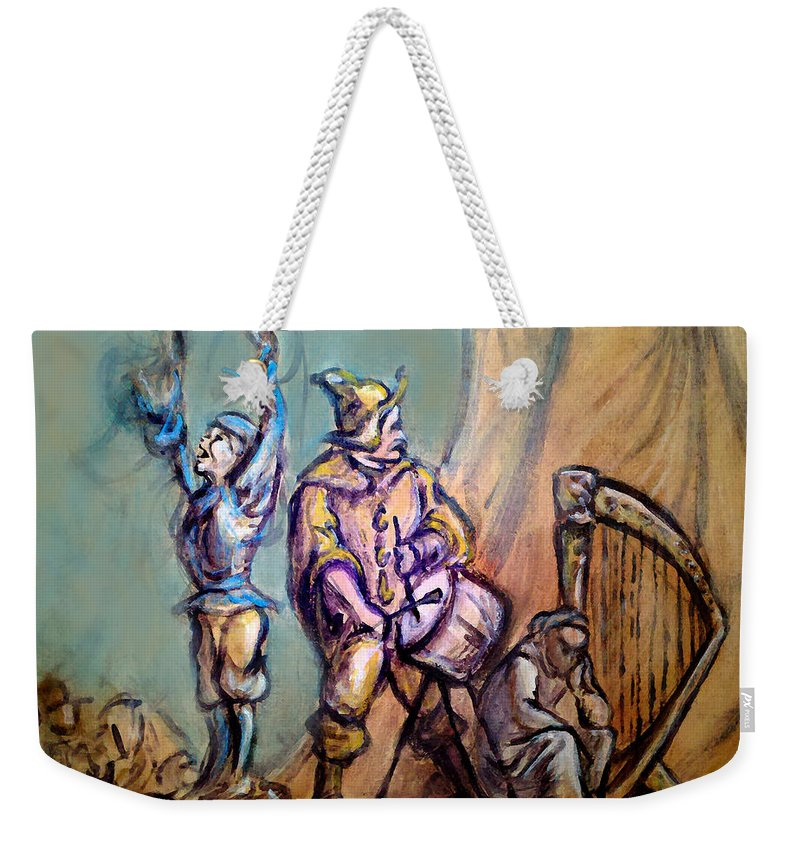 Street Performers Weekender Tote Bag featuring the painting Gypsies Part 1 by Kevin Middleton