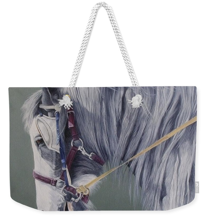 Horse Weekender Tote Bag featuring the painting Gypsy Cob Mare-milltown Fair by Pauline Sharp