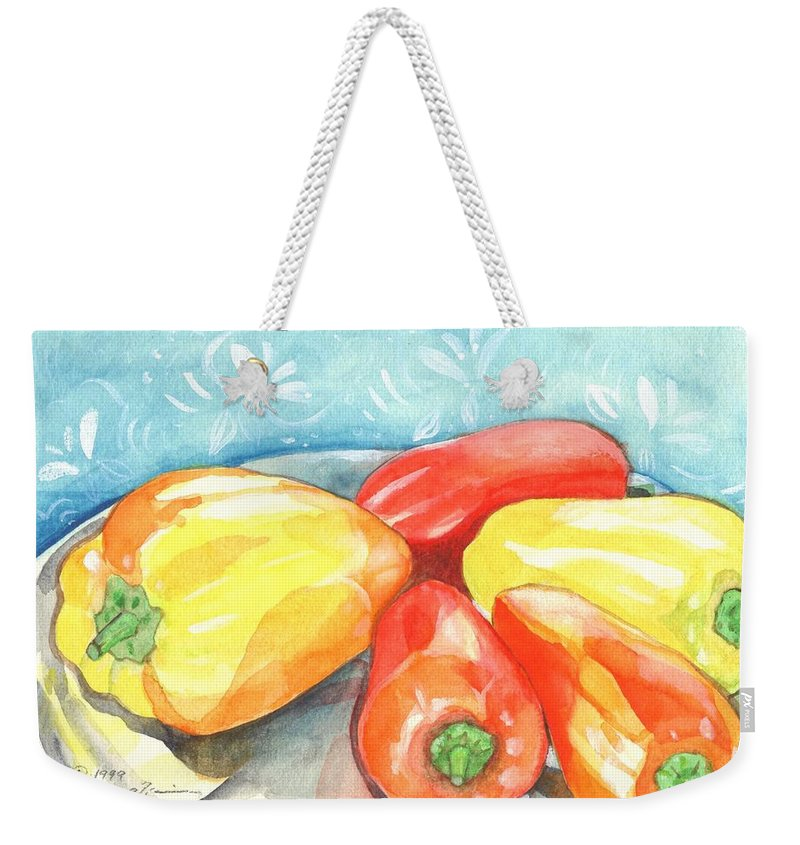 Gypsy Pepper Weekender Tote Bag featuring the painting Gypsy Peppers by Helena Tiainen