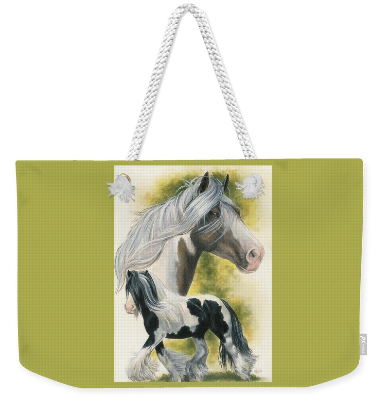 Horse Weekender Tote Bag featuring the mixed media Gypsy Vanner by Barbara Keith