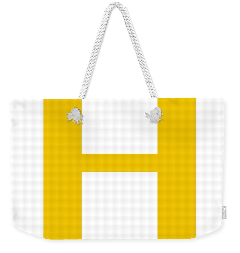 H Weekender Tote Bag featuring the digital art H In Mustard Typewriter Style by Custom Home Fashions