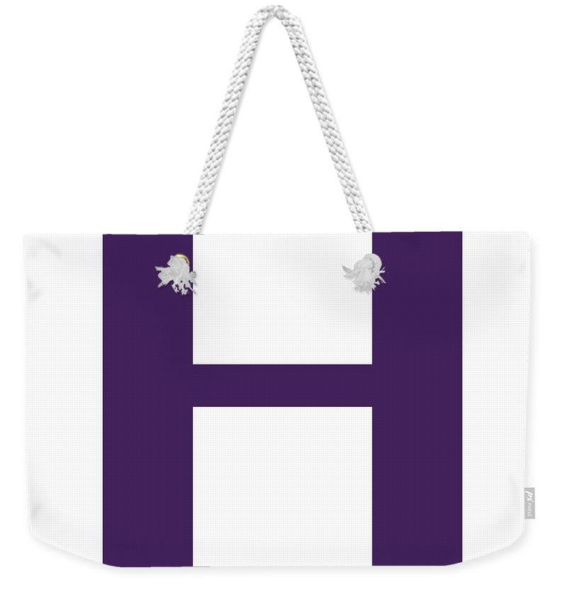 H Weekender Tote Bag featuring the digital art H In Purple Typewriter Style by Custom Home Fashions
