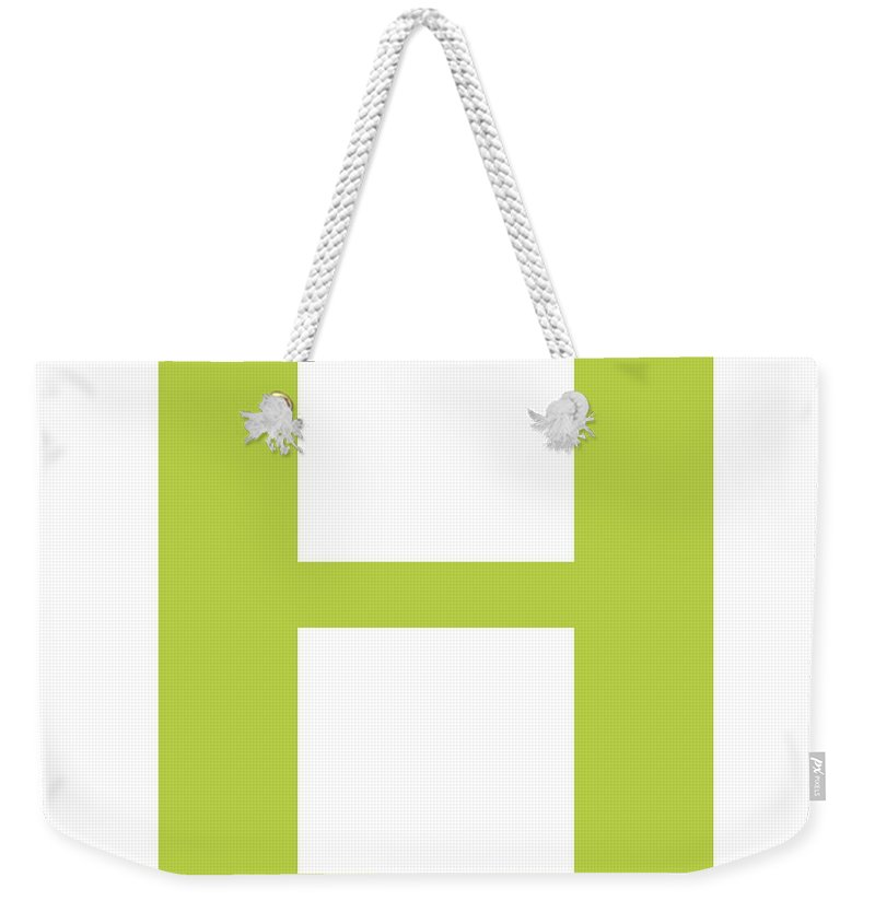 H Weekender Tote Bag featuring the digital art H In Spring Green Typewriter Style by Custom Home Fashions