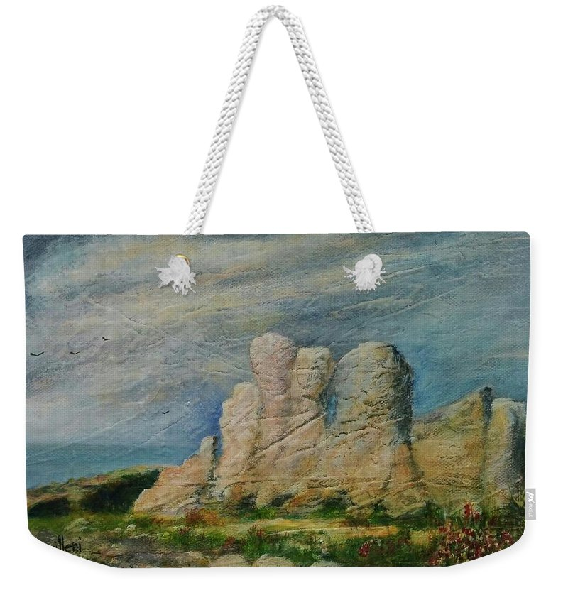 Weekender Tote Bag featuring the painting Hagar Qim Domination by Anthony Camilleri