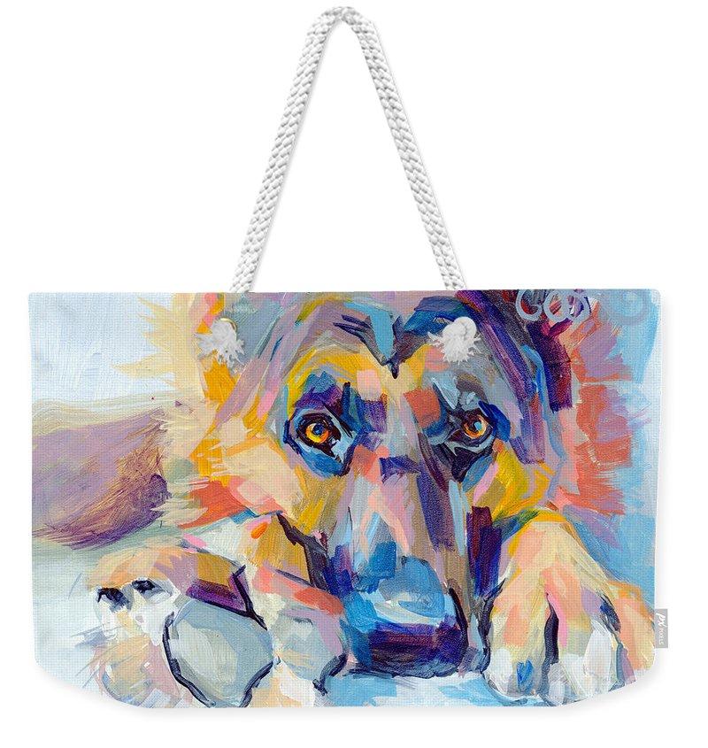 Shepherd Weekender Tote Bag featuring the painting Hagen by Kimberly Santini