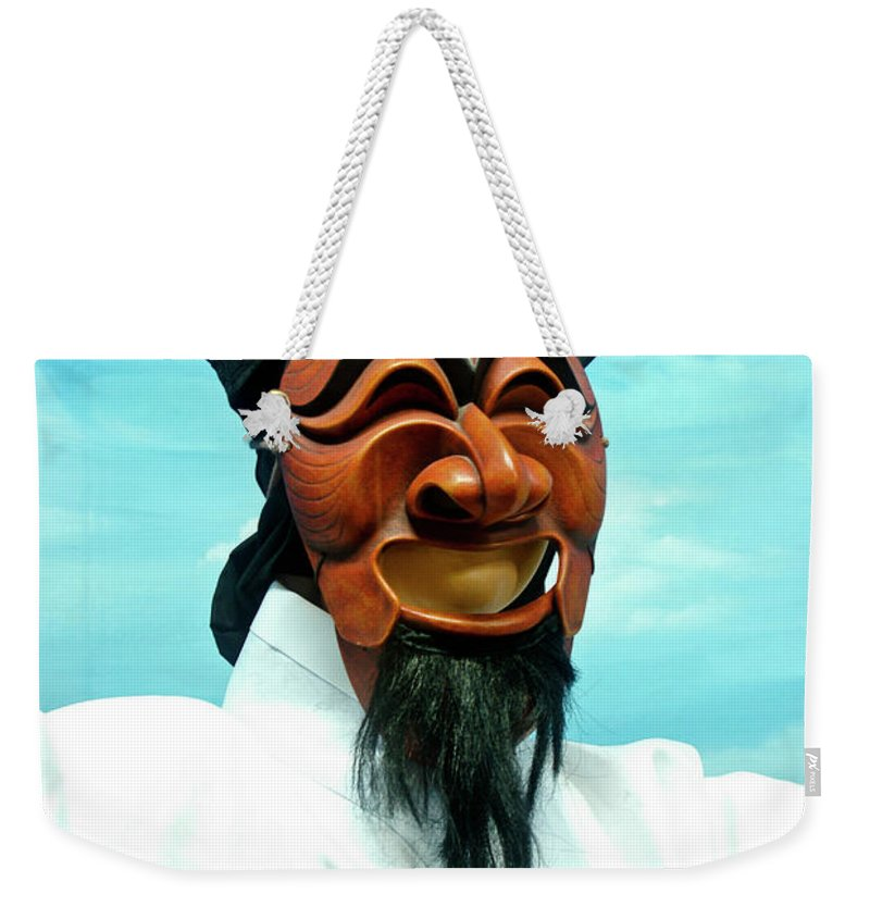 Asia Weekender Tote Bag featuring the photograph Hahoe Mask by Michele Burgess