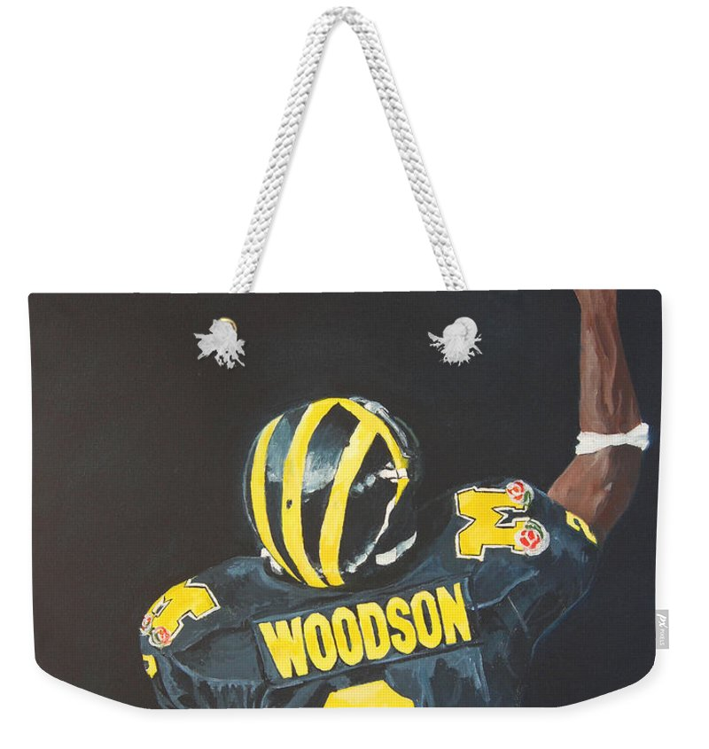 Heisman Weekender Tote Bag featuring the painting Hail Yes by Travis Day