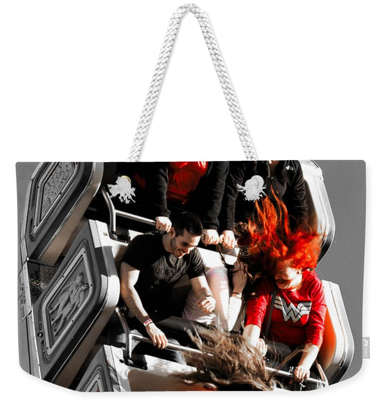 Carnival Ride Weekender Tote Bag featuring the photograph Hair Raising by Sherman Perry
