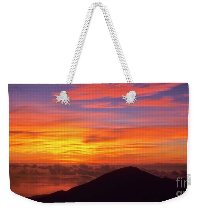 Nature Weekender Tote Bag featuring the photograph Haleakala Sunrise Colors IIi by Jim Cazel