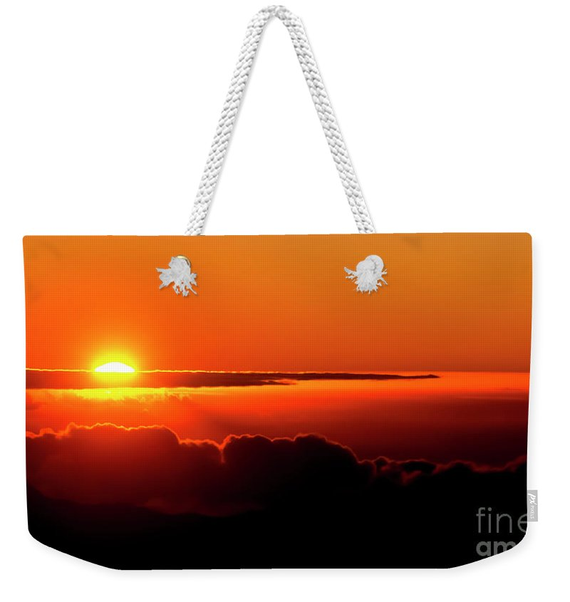 Sunrise Weekender Tote Bag featuring the photograph Maui Hawaii Haleakala National Park Sunrise IIi by Jim Cazel