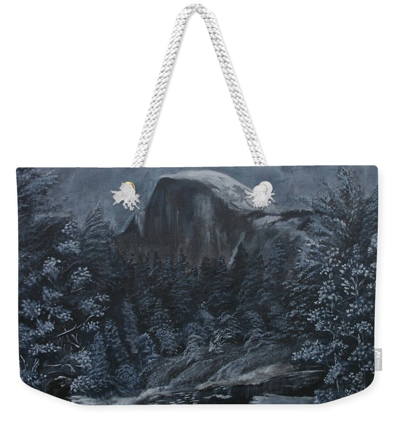 Yosemite Weekender Tote Bag featuring the painting Half Dome Black and White by Travis Day
