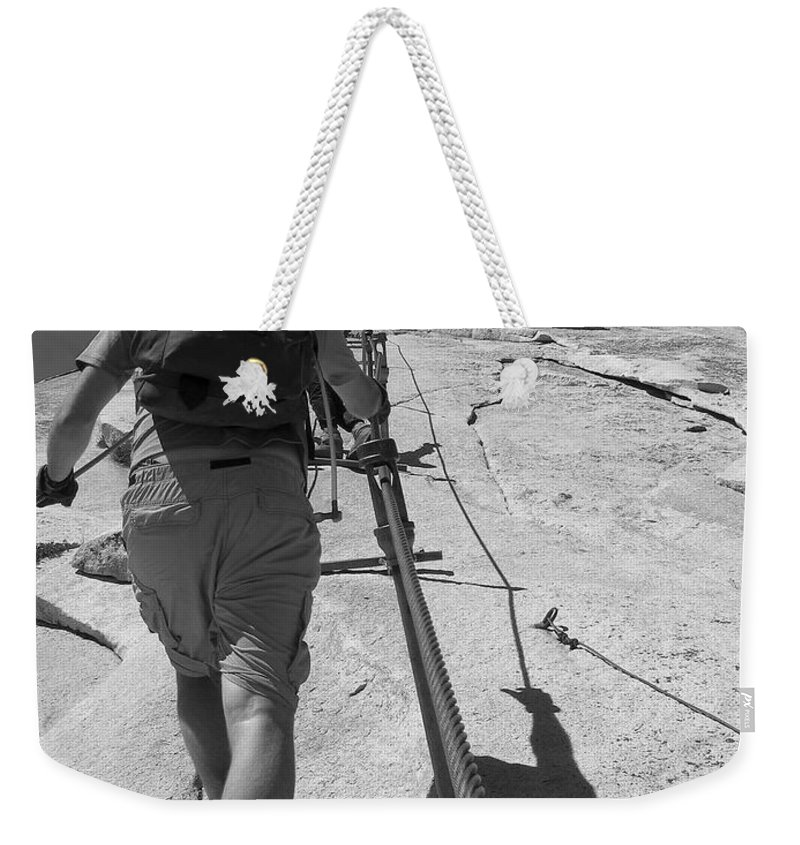 Half Dome Weekender Tote Bag featuring the photograph Half Dome Cables by Travis Day