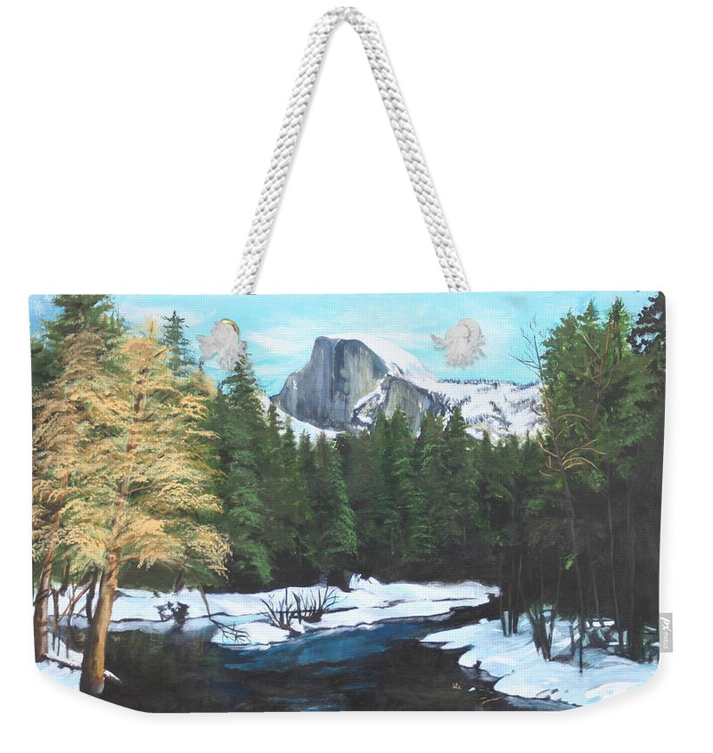 Lkandscape Weekender Tote Bag featuring the painting Half Dome Snow by Travis Day