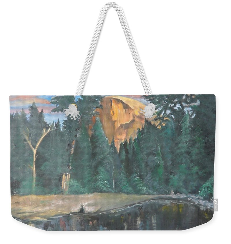 Sunset Weekender Tote Bag featuring the painting Half Dome Sunset by Travis Day