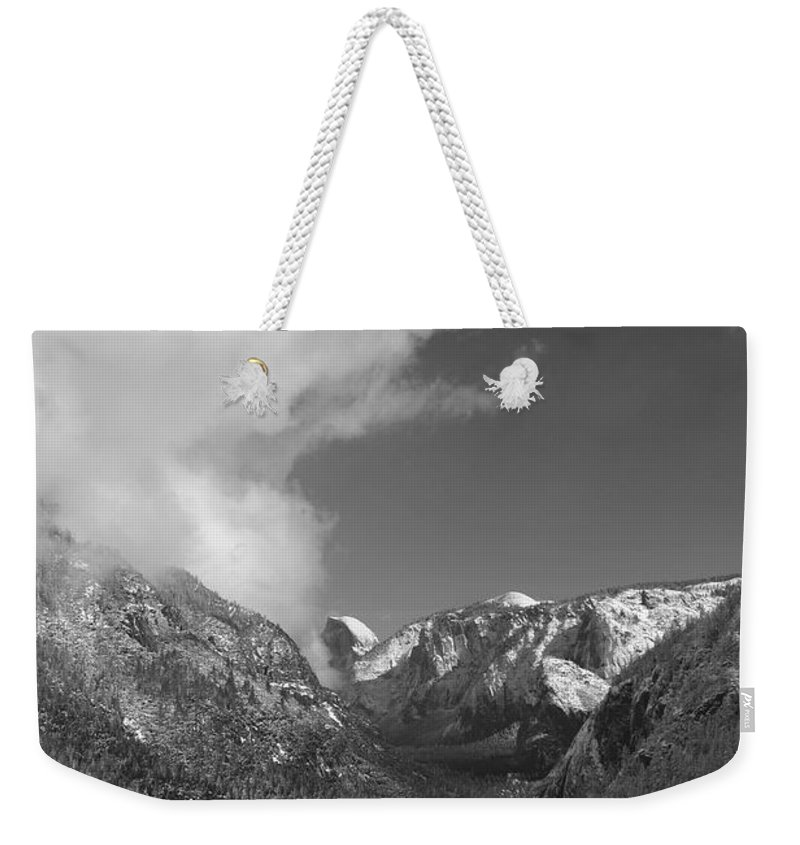 Half Dome Weekender Tote Bag featuring the photograph Half Dome Winter by Travis Day