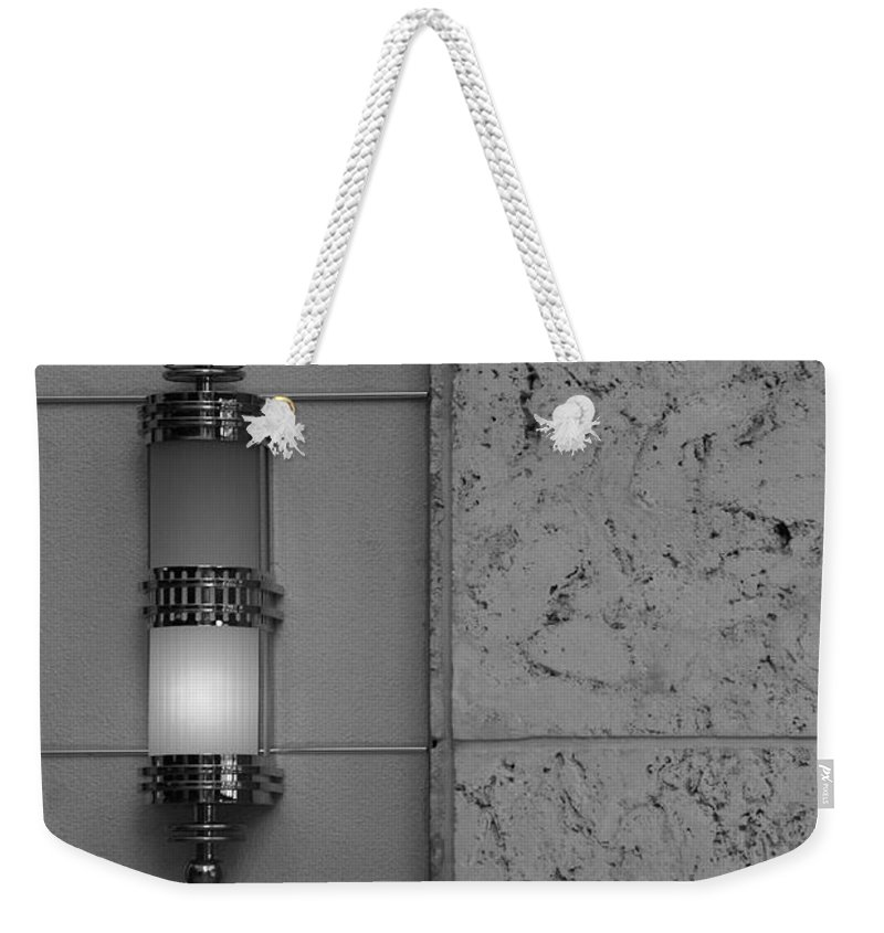 Sconce Weekender Tote Bag featuring the photograph Half Lit Wall Sconce by Rob Hans