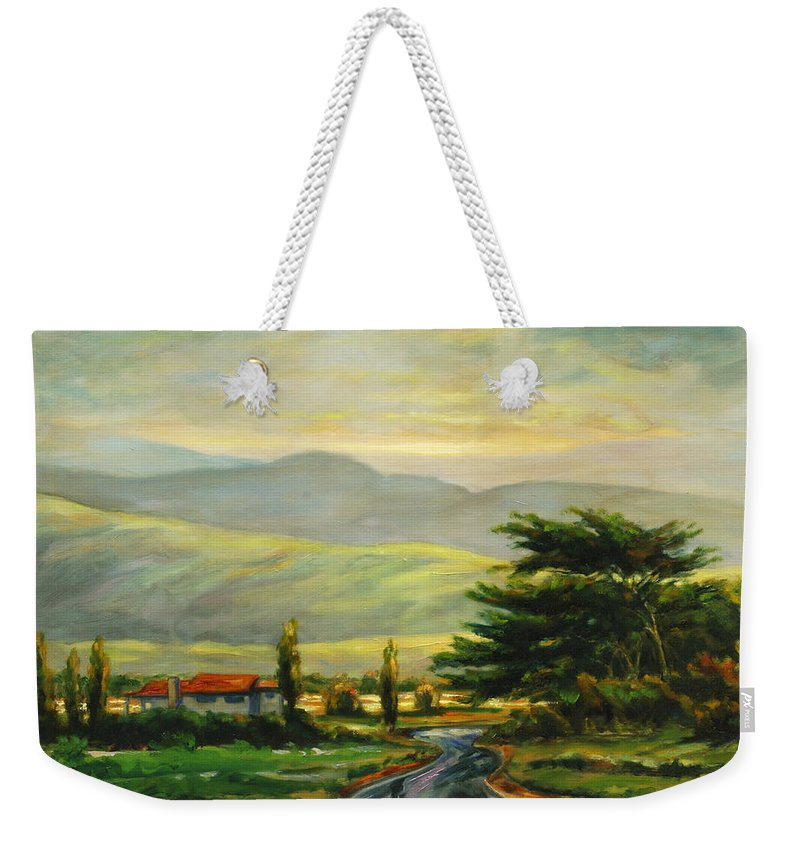 Trees Weekender Tote Bag featuring the painting Half Moon Bay by Rick Nederlof